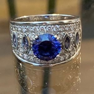 Jewelry - Gorgeous Sterling Silver Blue & CZ Statement Ring